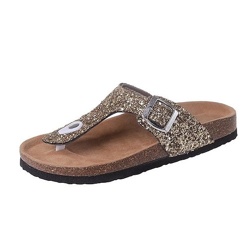 Womens casual glitter cork beach slipper sandals