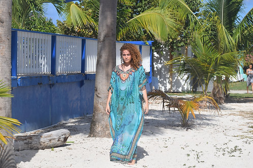 Come along with me Floral wave inspired print caftan.