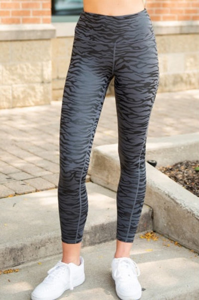High Waist Tummy Control Zebra Stripes Print Leggings