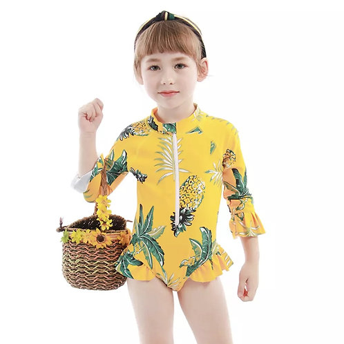 Kids Girls Long Sleeves Swimsuit One-piece UV Rash Guard