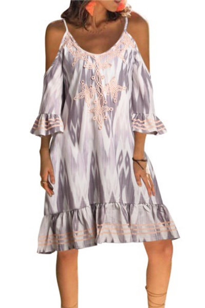 Boho Floral Printed V Neck Vacation Dress