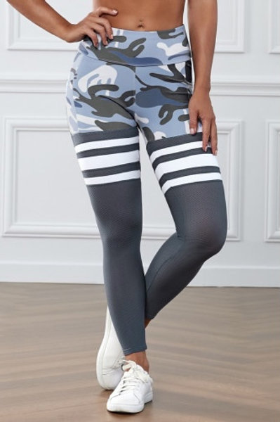 Camo Print Striped Sport Pants