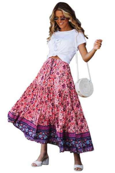 Twirl with the wind floral print maxi skirt.