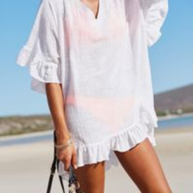 Women's cotton beach dress cover up