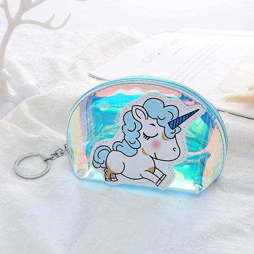 Transparent Kids cartoon unicorn coin  purse