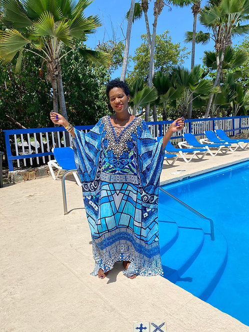 Blue abstract print caftan.
