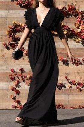 V Neckline Ruffled Maxi Dress (Waist elastic)