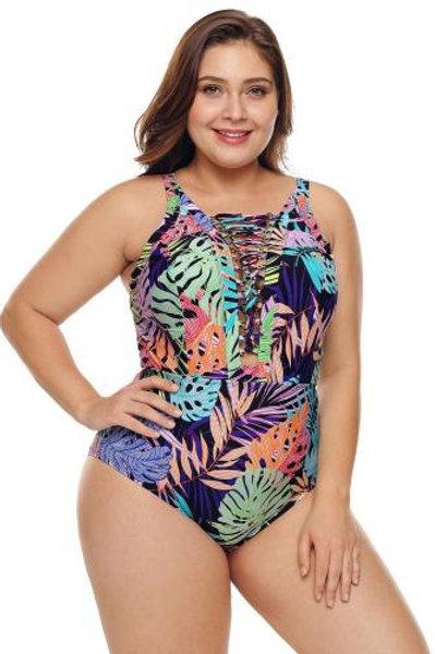 Colorful Tropical Jungle Crisscross Plunge V Neck Plus Maillot Swimwea