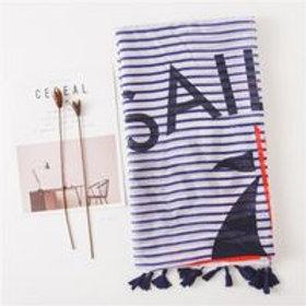 Navy Cotton Linen Scarf Sun Shawl