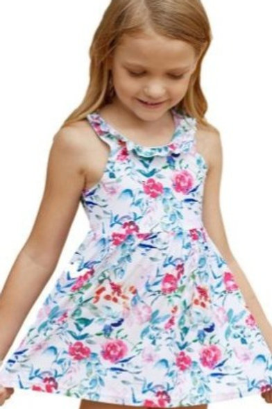 Floral Pattern Ruffle Neckline Toddler Girls Swim Dress