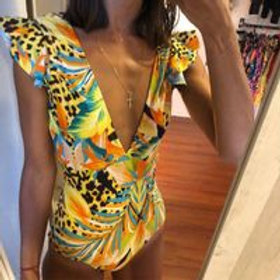 Sexy One Piece Swimsuit Leopard Conservative Backless swimsuit