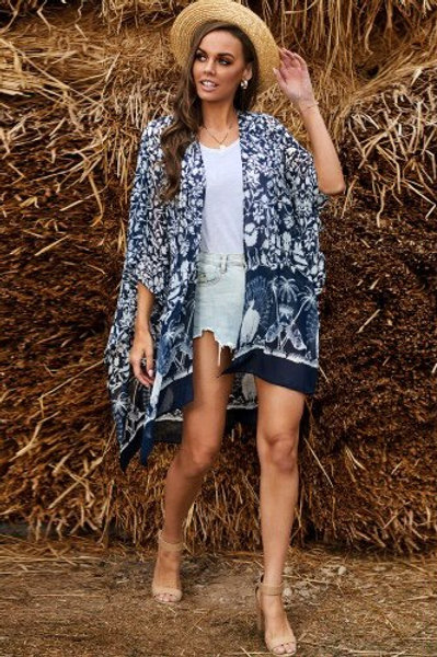 Kimono Sleeve Floral Print Graceful Cover Up
