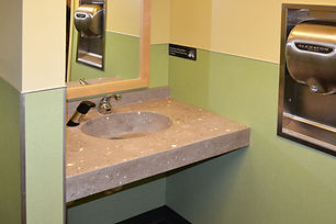 Custom Concrete Vanity with glass inbedm