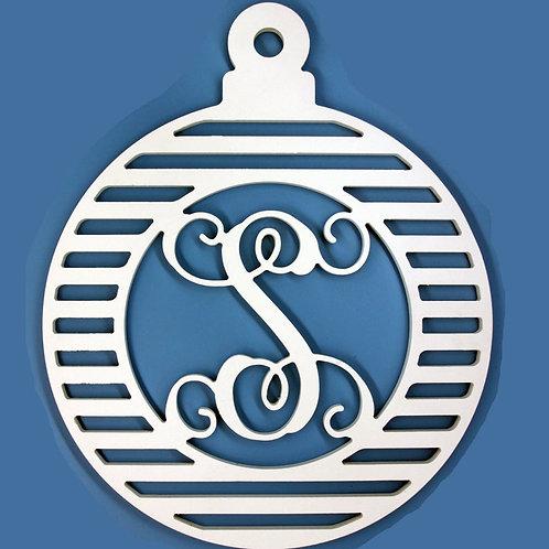 Christmas Ball Ornament Letter Initial Monogram