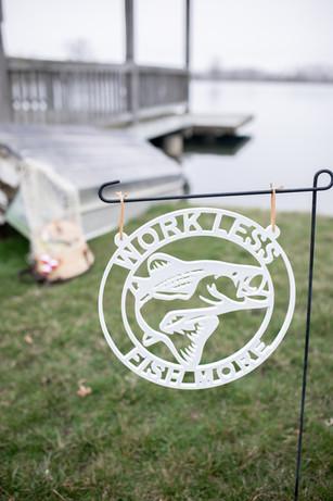 Fishing Sign Red Mill Monogram Custom Gi