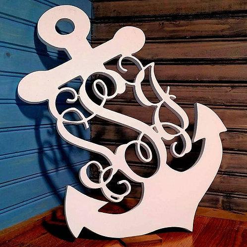 3 Letter Monogram Anchor