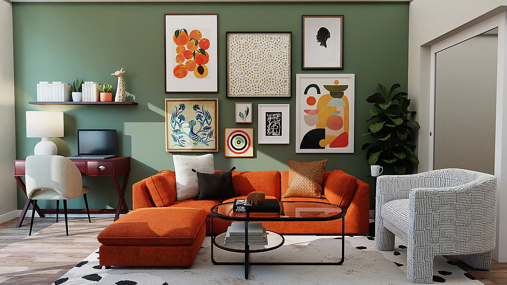 Modern and funky interior design with orange couch, midcentury modern art, and Scandinavian prints by Margie Stapf Interiors