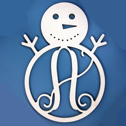 Snowman Letter Initial Monogram Christmas Ornament