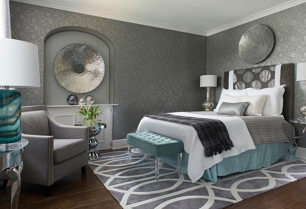 Silver, white, and teal bedroom design for Harrisburg Symphony Showhouse by Margie Stapf Interiors of Boiling Springs PA