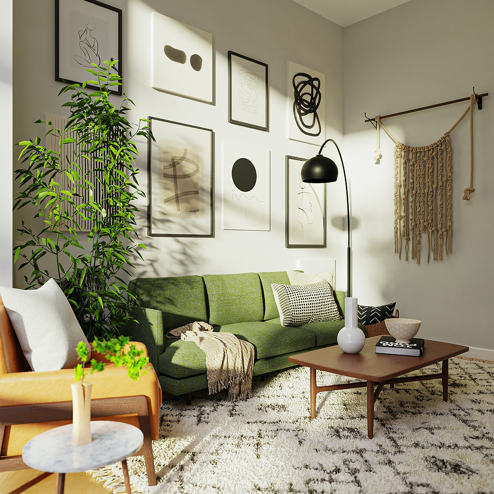 Beautiful interior design of modern living room with boho feel by Margie Stapf Interiors for Mechanicsburg PA homeowner