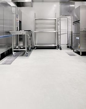kitchen restaurant white concrete floor