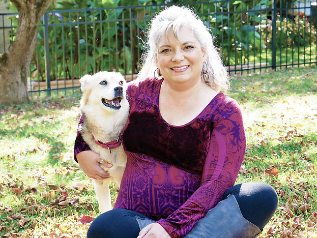 Lisa DiVittore with her Dog of Flowing Heart Reiki Reflexology and Readings Lifestyle Photography Outside