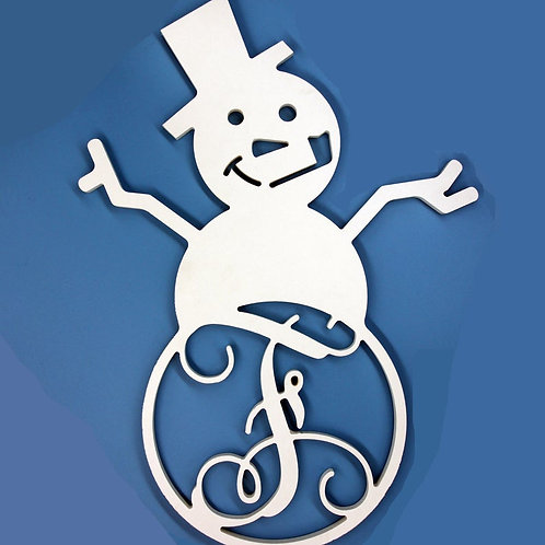 Snowman Letter with Initial Monogram