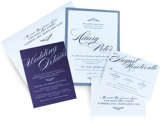 Modern Wedding Invite plum with cardstock backing designed by Melissa Miller of Made to Keep