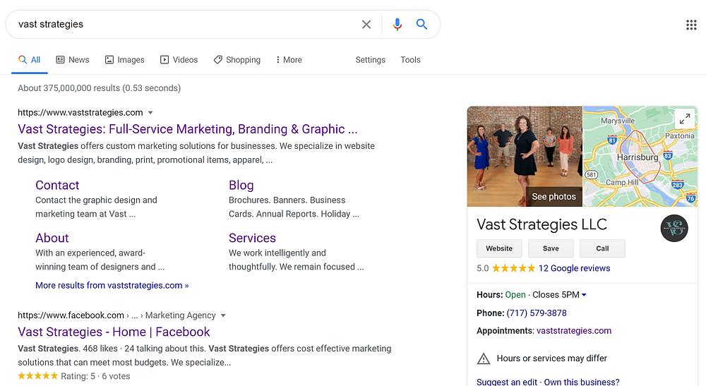 Vast Strategies Central PA Marketing Firm Google My Business Blog Screenshot