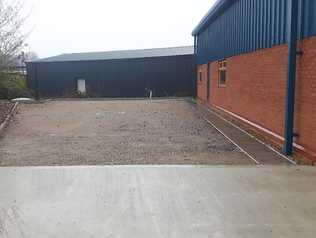 External works for an industrial steel building