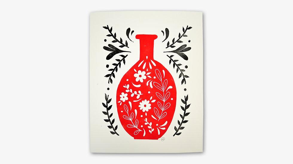 Flacon de fleurs   Rouge