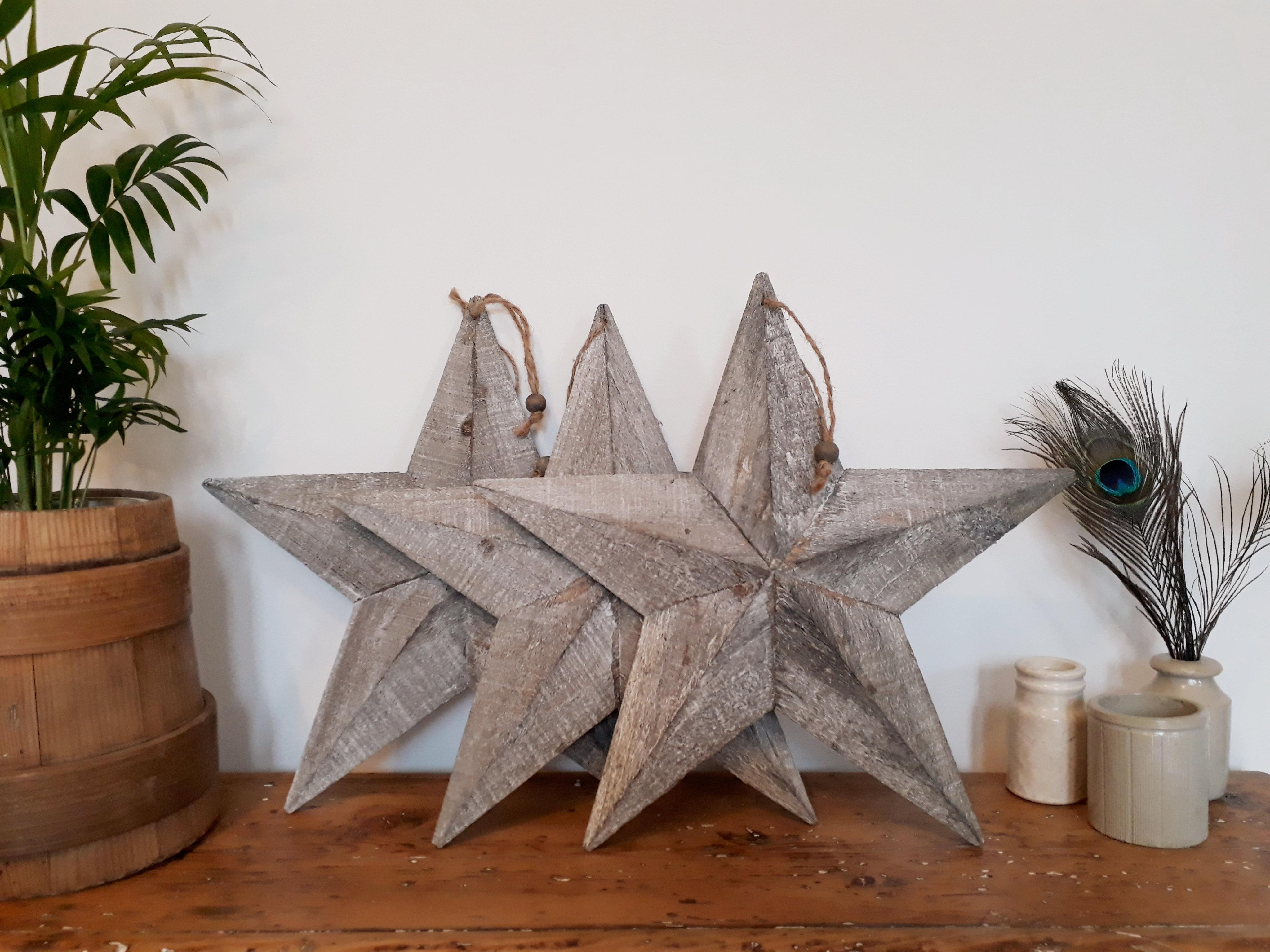Grey Washed Wooden Star Vintagehoarders