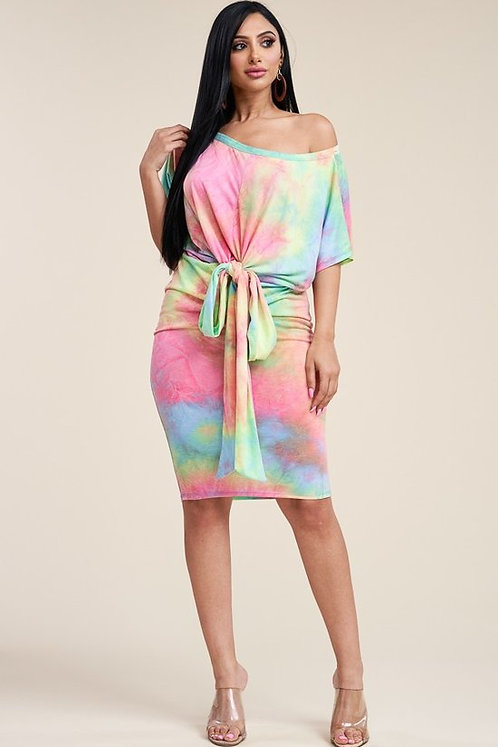 Tie dye slouchy dress with waist tie