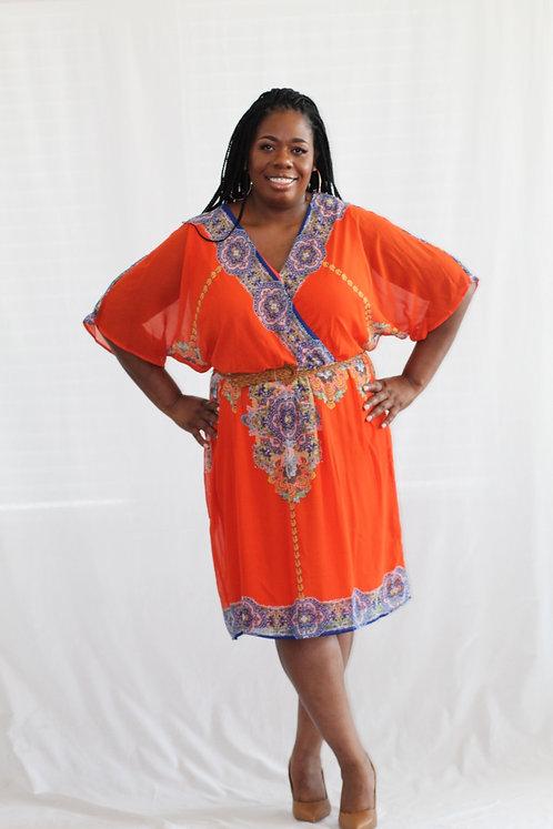 Multi-Colored Border Print Dress