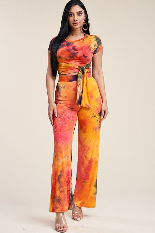 Tie dye tie front short sleeve top and pants two piece set