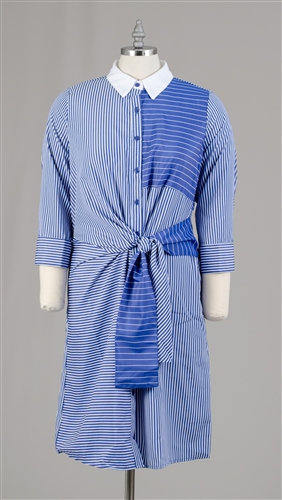 Button-up Tie Front Stripe Dress
