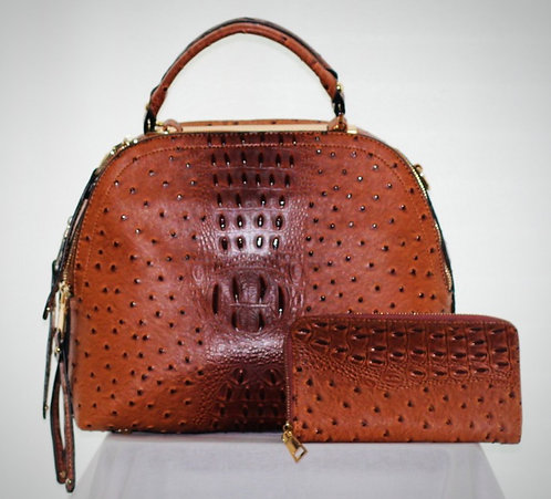 Pecan handbag and wallet