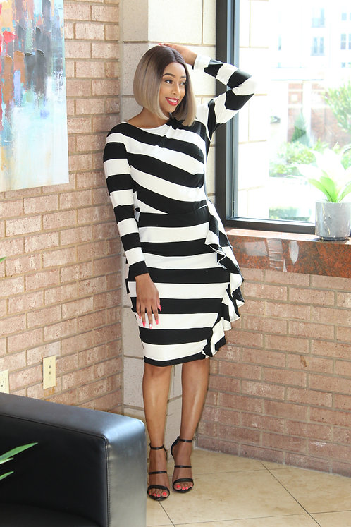 Black and White Striped Dress w/ruffles