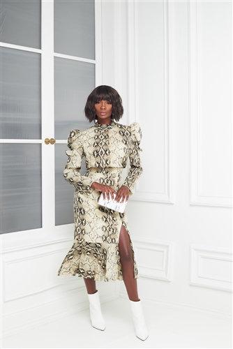 Puff Sleeve Ruffle Snake Print Dress Dress