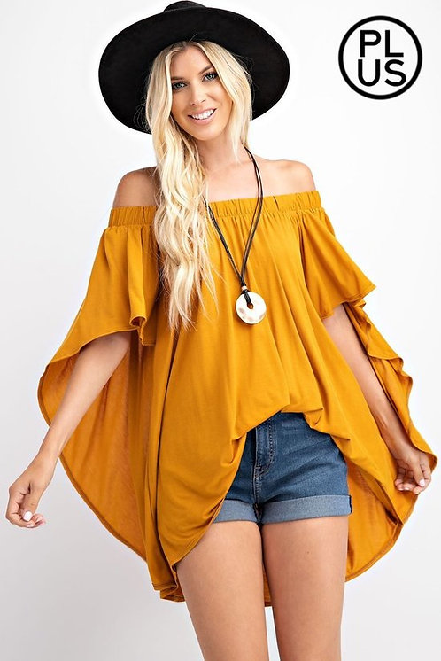 Off shoulder, high low draped top, Cape tunic Style,