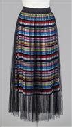 Tulle Overlay Multi Color Stripe Pleated Skirt