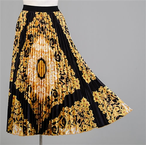Black, Gold, and White Pleated Skirt