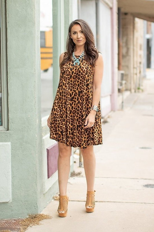Amber Print sleeveless Flutter dress
