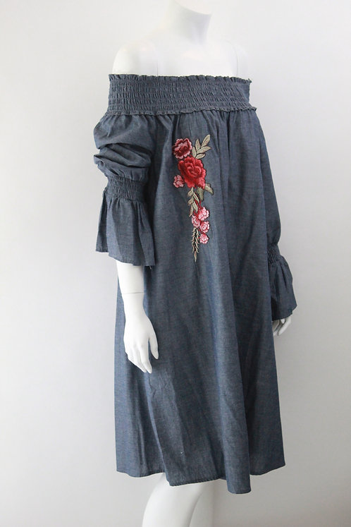 RuffleLong Sleeve Jean Dress