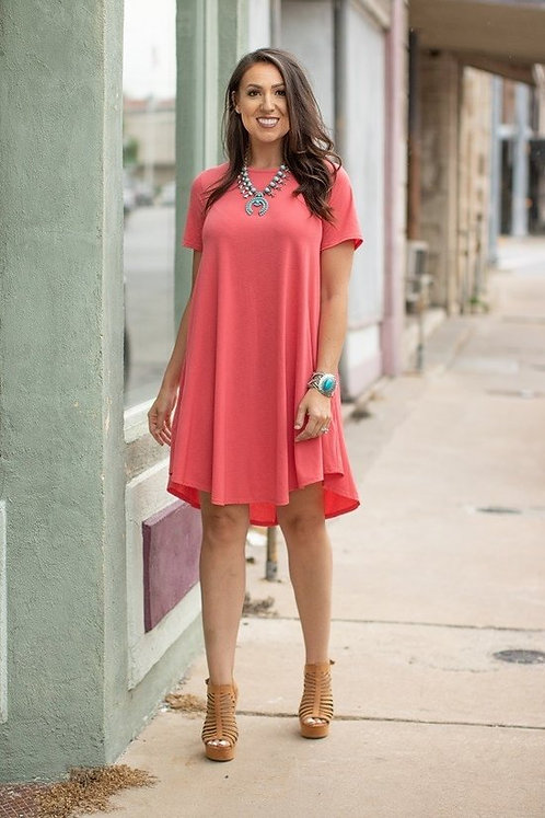 Solid Short sleeve Flutter dress with Side pocket
