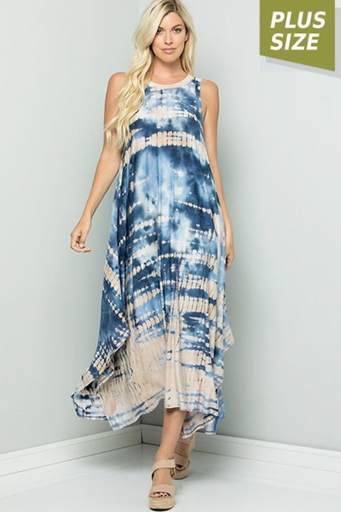 Blue ocean sleeveless tie dye Dress