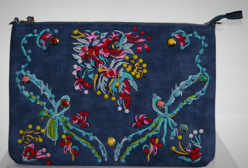 Demin Embroidery Handbag