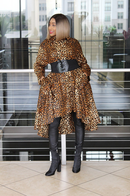 Leopard High Low Tunic Dress