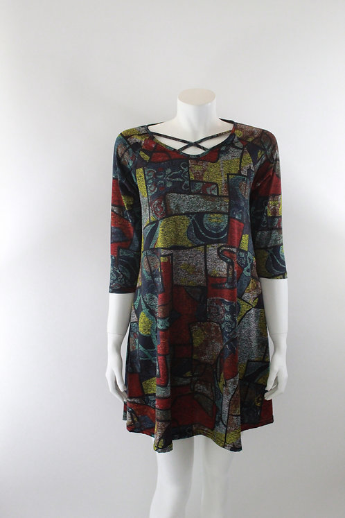 Multi-Colored Print Dress