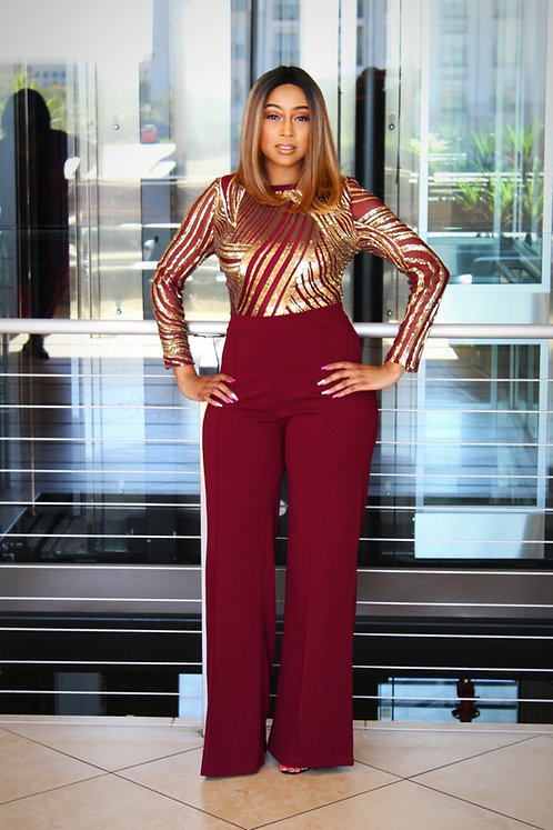 Red wine & Gold Jumpsuit